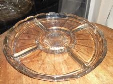 LARGE VINTAGE DECO GLASS SHALLOW DISH 4 SECTIONS DIP CENTRE UV REACTIVE GREEN